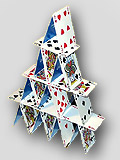 Stack of Cards in Pyramid Shape (Stock Image)