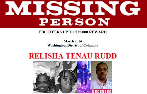 Relisha Tenau Rudd's Missing Person Poster (Tatum Deceased))