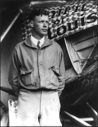 """Lindbergh Baby Kidnapping: Charles Lindbergh with the """"Spirit of St. Louis"""" (Library of Congress Photo)"""