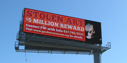 Digital Billboard in Boston Announces Reward in the Gardner Museum Theft