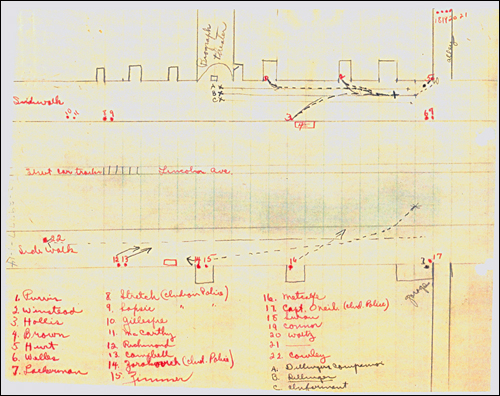 Diagram of Stakeout of Biograph Theater to Catch John Dillinger