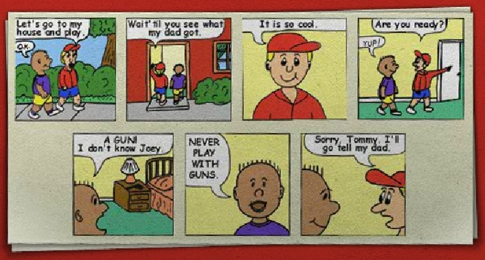 Safety Tips: Comic Strip on Gun Safety
