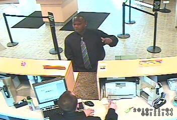 Edgewater Bank Robbery Suspect, Photo 1 of 4 (11/4/10)