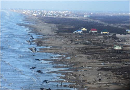 The devastation wreaked by Hurricane Ike on the Bolivar Peninsula in Texas on September 24. Photo courtesy of Jocelyn Augustino/FEMA