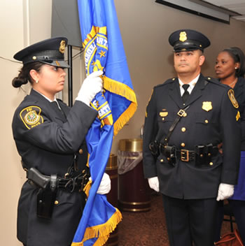 The FBI Police Honor Guard presents the colors to open the ceremony.