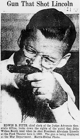 Figure 1. Newspaper Photograph from the 1930s Showing the Booth Deringer Pistol
