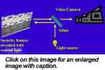 Example of how coaxial light strikes an object and is viewed by the camera lens.