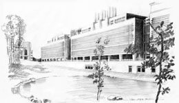A sketch of the new FBI laboratory building.