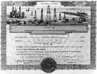 Reduced image of an oil stock certificate that features genuine signatures of the oil company officers.
