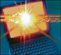 Laptop with explosion