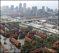 The New Orleans skyline as it appeared on Aug. 30, 2005. Photo courtesy of FEMA.