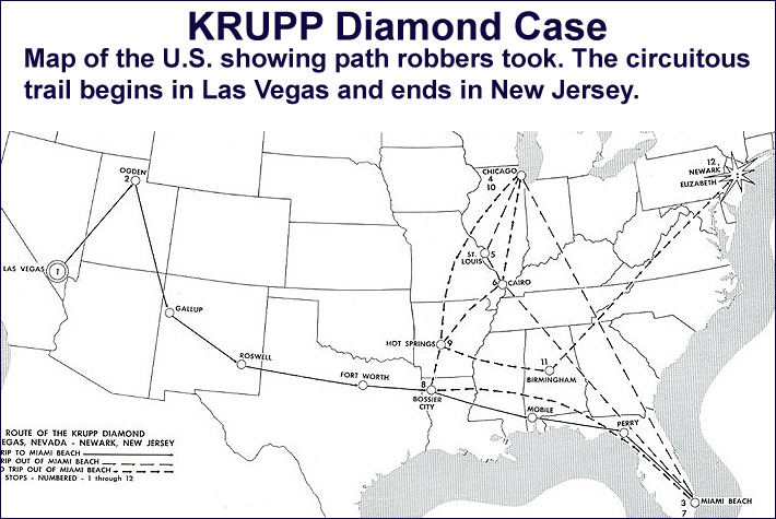 Map of the U.S. Showing Krupp Diamond Thieves' Route