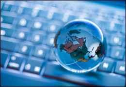 Globe over keyboard