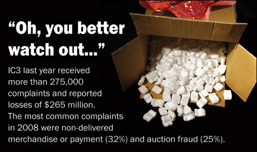 """Oh, you better watch out..."""" IC3 last year received more than 275,000 complaints and reported losses of $265 million. The most common complaints in 2008 were non-delivered merchandise or payment (32%) and auction fraud (25%)."""