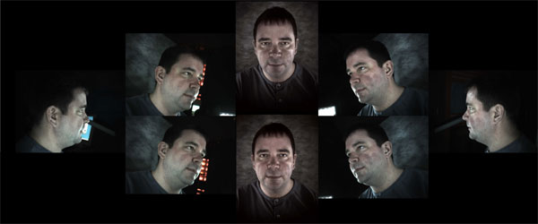 Figure 3 is an example of the eight digital photographic images of different aspects of the face captured by the Geometrix FaceVision system shown in Figure 2.