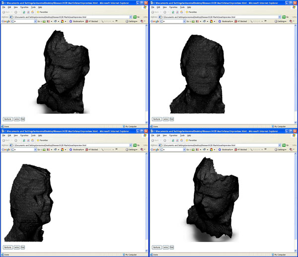 Figure 6 shows screen shots of the 3-D wire-framed surface of a face generated using the Geometrix FaceVision software and viewed in Internet Explorer with the Viewpoint Media Player plug-in.