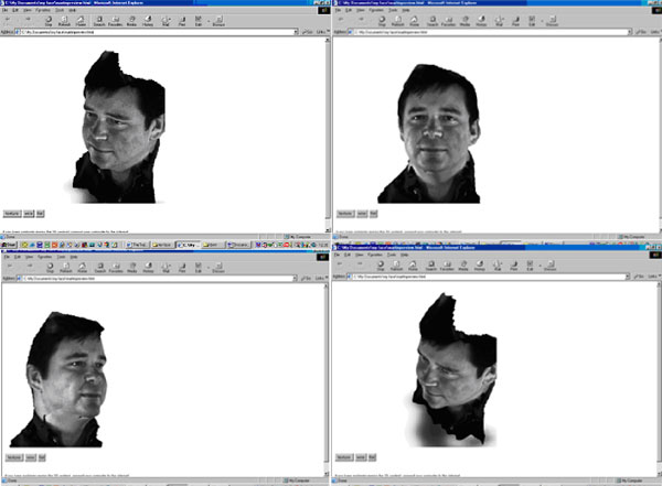 Figure 7 shows screen shots of the texture-mapped 3-D surface of a face generated using the Geometrix FaceVision software and viewed in Internet Explorer with the Viewpoint Media Player plug-in.