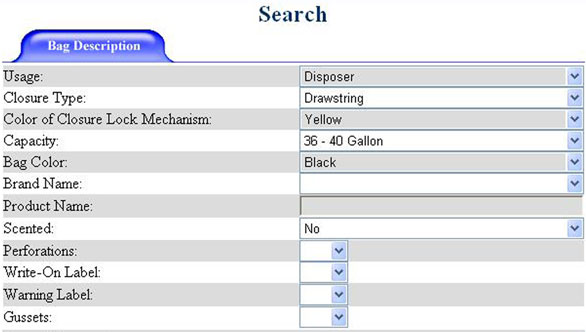 Figure 5: A screen shot of the PRIDE database showing the search screen and the characteristics (as described in the text) entered to run a sample search. The results are provided in Figure 7.