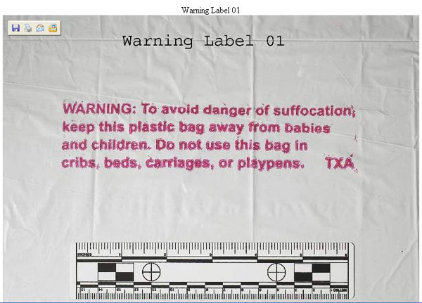 A screen shot showing a plastic bag's warning label, reminding users to keep the bag away from children to avoid suffocation