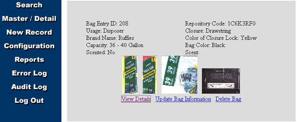 Figure 7: The results of the search conducted using the characteristics entered into the PRIDE and displayed in Figure 5. The details of the bag, as well as images of the product, are displayed on the screen. This bag is a Ruffies 39-gallon lawn and leaf bag with a drawstring closure.