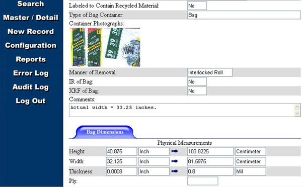 Figure 9: A screen shot showing more specific details, including actual measurements, and a photograph of the bag