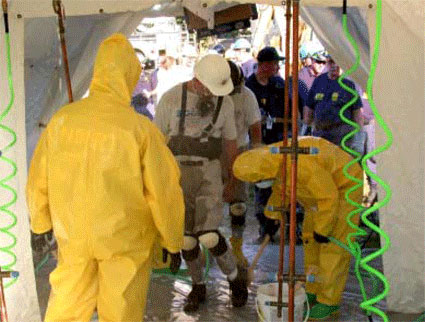 A photo of the decontamination corridor at the Pentagon, where personnel sorting through the rubble at each crash site were decontaminated. (Source: Arlington County After-Action Report on the Response to the September 11Terrorist Attack on the Pentagon)