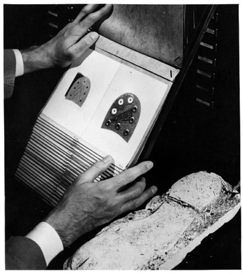 A historical photo of an examiner comparing the cast of a shoe print with the Laboratory's reference collection of rubber heels