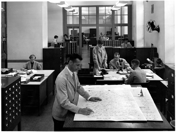 A historical photo of the Document Section of the FBI Laboratory