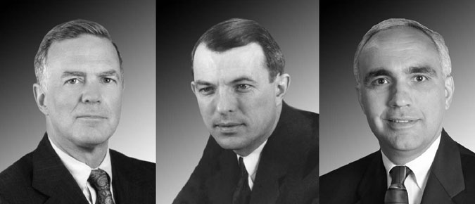Pictured from left to right: Donald Kerr, FBI Laboratory Director, 1997–2001; Coffey Edmund, the first FBI Laboratory Director, 1942–1945; and Joseph A. DiZinno, current Laboratory Director