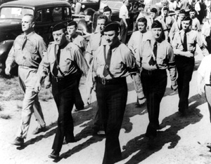 Marching members of the American Nazi party
