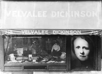 Dickinson's doll shop storefront with Velvalee Dickinson's image in window