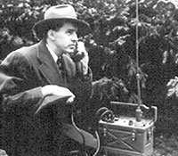 Special agent using a radio