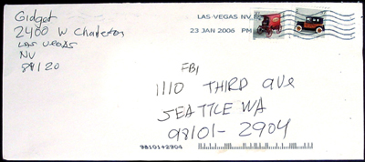 Envelope allegedly from gunman of USA Thomas C. Wales