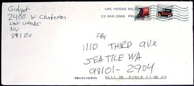 Envelope allegedly from gunman of USA Thomas C. Wales