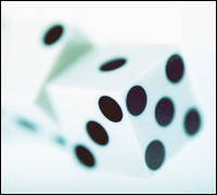 Dice in mid-air