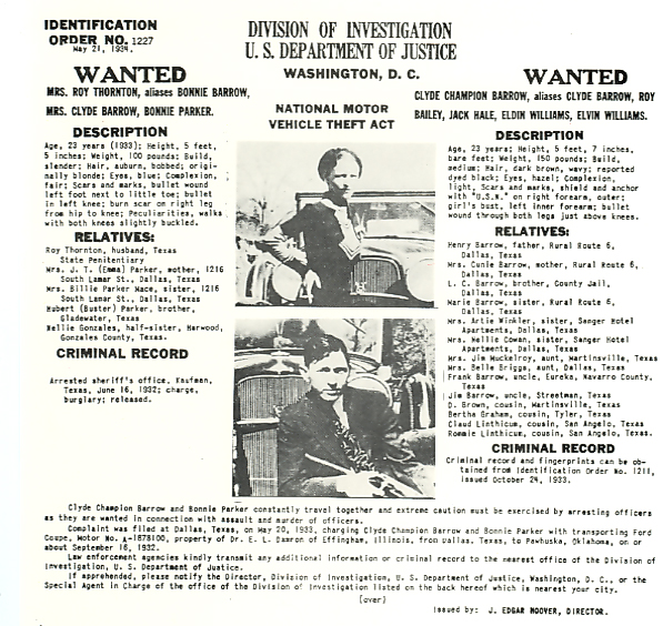 Identification Order No.1227 Bonnie and Clyde