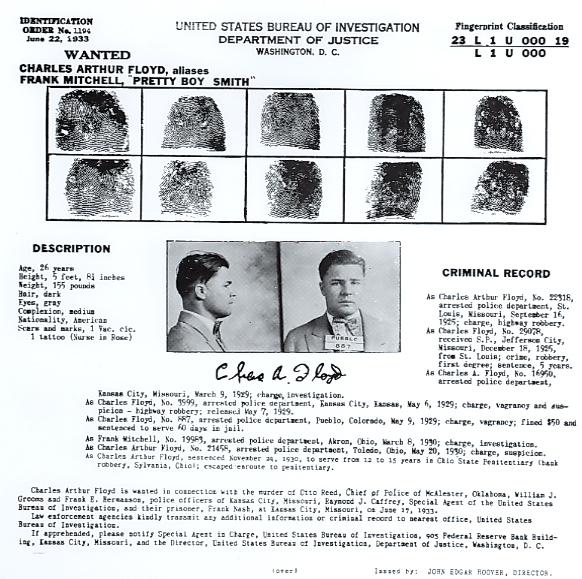 """Identification Order No. 1194, """"Pretty Boy"""" Floyd"""
