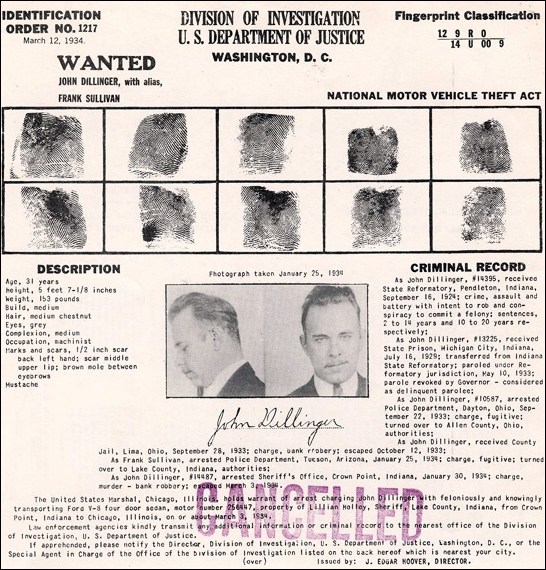 Identification Order No.1217 John Dillinger