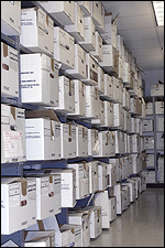 An FBI storage facility contains seized evidence, including bank and brokerage account records that were critical in seizing assets and supporting insider trading charges against executives.