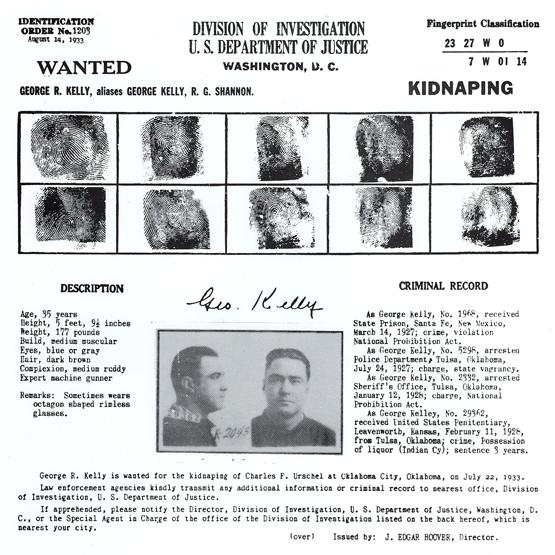 """Identification Order No. 1203, George """"Machine Gun"""" Kelly"""