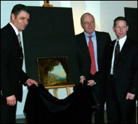 Dr. Bernhard Matheis (left) Lord Mayor of the city of Pirmasens, accepts the recovered paintings from the U.S. Ambassador of Germany William R. Timken, Jr. Also shown is FBI official Eric B. Ives (right).