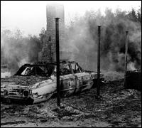 Firebombed home of Vernon Dahmer (AP Photo)