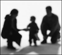 Silhouettes of adult male, female, and child