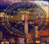 NYC skyline and FBI seal