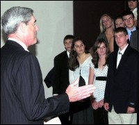 Director Mueller speaks with FBI Youth Leadership Program attendees.