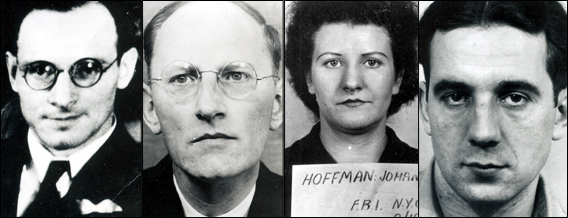 One who got away and three who didn't: (left to right), Dr. Ignatz Greibl, who fled; and the three convicted spies, Otto Hermann Voss (six years), Johanna Hoffman (four years), and Erich Glaser (two years).