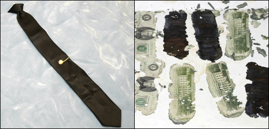 Left: During the hijacking, Cooper was wearing this black J.C. Penney tie, which he removed before jumping; it later provided us with a DNA sample. Right: Some of the stolen $20 bills found by a young boy in 1980.