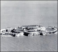 Aerial view of Alcatraz Island, January 1932.
