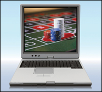 computer screen showing gambling chips