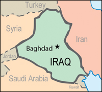 Map of Iraq and surrounding countries, Baghdad indicated